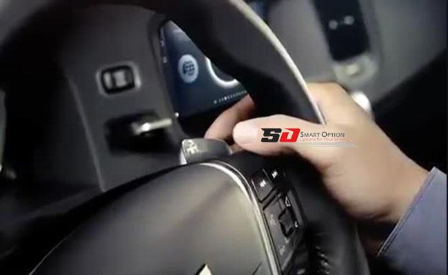 Easy steering with gear behind the steering wheel